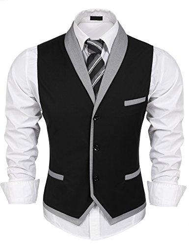 Burlady Herren V-Ausschnitt Ärmellose Westen Slim Fit Weste Anzug Business Anzugweste (EU 56(Hersteller:XXL), A-Schwarz)