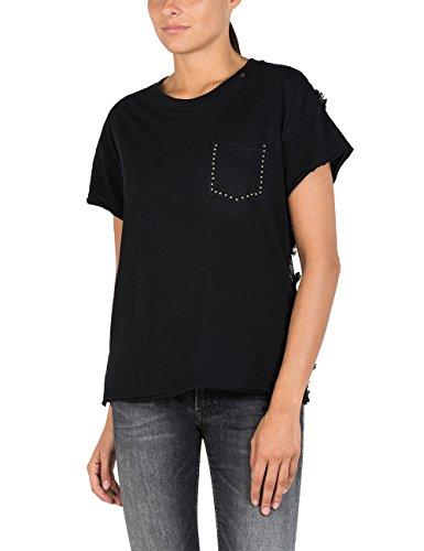 Replay Kurzarm T-Shirt Brusttasche Rundhals Nieten Stickerei Schwarz Schwarz