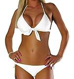 ALZORA Neckholder Damen Bikini Push Up Set Top und Hose Auswahl Farben , 10344 (M, Weiss)