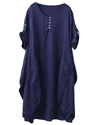 MatchLife Femme Robe Midi Manches Courtes Retroussables O-Cou