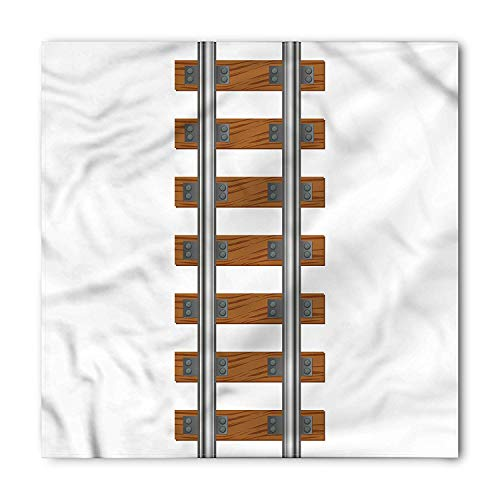 WYICPLO Train Bandana, Ways of Transportation Tracks, Unisex Head and Neck Tie,23.6 * 23.6inch Cotton Track Bandana
