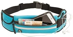 Laufgürtel Sportgürtel Esportista für Handy, große Smartphones (6 Zoll), Schlüssel, Geld mit Reißverschluss, Kopfhörerausgang, Reflektor und Flaschenhalter (Trinkgurt) - wasserabweisend & verstellbar - Hüfttasche Running Belt - Farbe blau