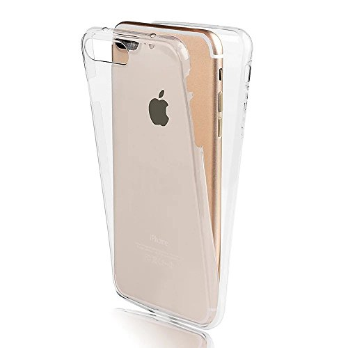 iPhone 7 Plus TPU Silikon Hülle,iPhone 7 Plus 360°Full Body Cover,Sunroyal Ultra Dünn Transparent Handyhülle Schutzhülle Durchsichtig TPU Crystal Clear Case Backcover Bumper Slimcase Handyhülle Full Cover Case Hülle Cover Tasche Vorderseite + Rückseite beidseitiger Schutz für Apple iPhone 7 Plus (5.5 Zoll)-Weiß