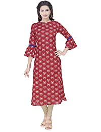 Isha-Studio Cotton Kurtis For Women - Bell Sleeves In Red