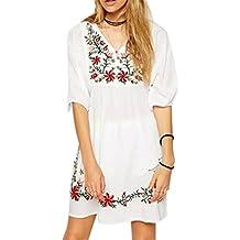 HARRYSTORE 2017 Mujeres Mexicano bordado Campesino Hippie blusa Gypsy Boho vestido mini vestido blanco