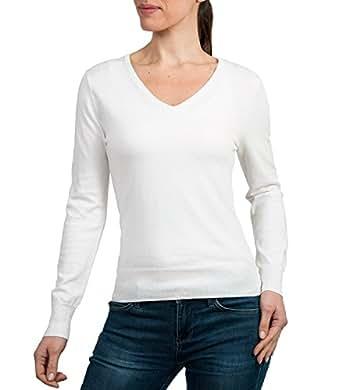 Wool Overs Pull à manches longues et à col V femme en soie et coton Blanc S