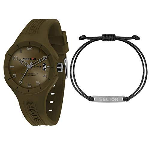 Sector 9 Hommes Analogique Quartz Montre avec Bracelet en Silicone R3251514018