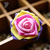 1PC DIY Simulation Rose Head Colorful Artificial Flower Rose Home Decoration : F