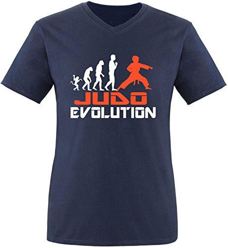 EZYshirt® Judo Evolution Herren V-Neck T-Shirt Navy/Weiss/Orange