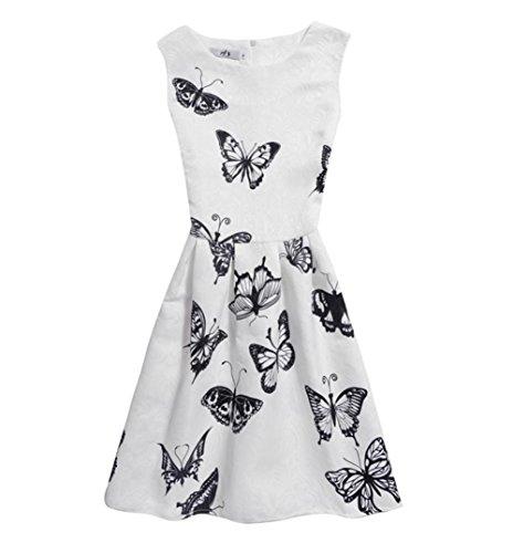 Kinder Baby Yesmile Kinder Baby Schmetterling Drucken Sommer Kleid/Prinzessin Kleider/Mädchen Kleinkind/Party Kleidung/6-12Jahr (150, Weiß)