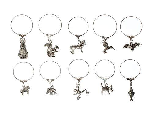 Miniblings 10x Glasmarkierer Glasmarker Party Glasanhänger Anhänger Tier silbern
