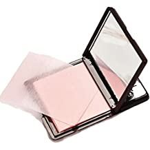 Blotting Paper Beauty Control Oil Absorbing Tissues Face Facial Make Up Sheets Pink Colour 50 pcs with Mirror Black Plastic Cover