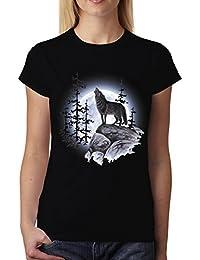 Lobo Aullando Luna Llena Mujer Camiseta XS-3XL