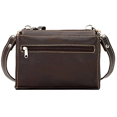 American West Two Step bandoulière Porte-monnaie Sac à main en cuir brun Black