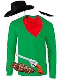 Cowboy Kostüm Set für DALTONS Fans, JGA Karneval Fasching Herren Longsleeve+Bart+Hut+Pistole+Tuch