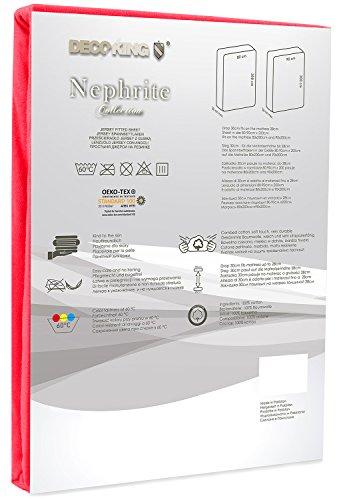 DecoKing 19009 80x200-90x200 cm Spannbettlaken rot 100% Baumwolle Jersey Boxspringbett Spannbetttuch Bettlaken Betttuch red Nephrite Collection - 3