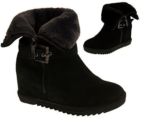 Footwear Studio Keddo Faux Suède Bottes Talon Compensé de la Cheville Femmes