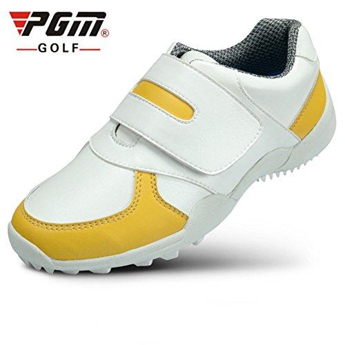 Crestgolf antiscivolo-durevole Golf bambini scarpe da running, sport esterno sneakers traspirante morbido scarpe da golf scarpe per bambini, white-yellow, Eur34/Uk3.5