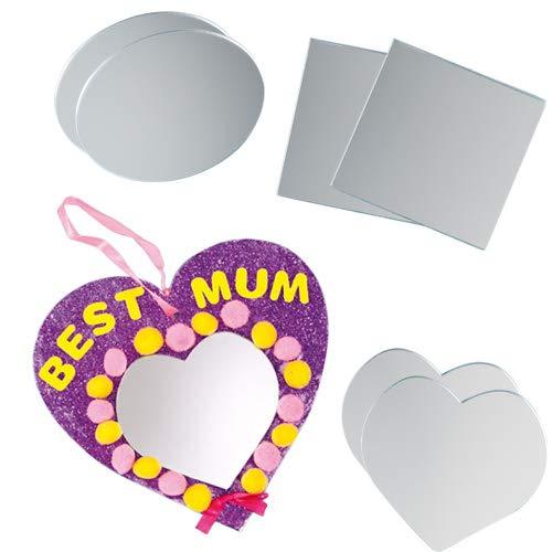 Baker Ross Acrylspiegel - Herz - Oval - Quadrat - für Kinder zum Basteln -  12 Stück Oval Baker