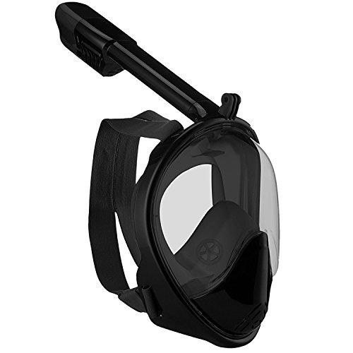 Schnorchelmaske Easybreath für Kinder mit 180 ° Betrachtungsfläche Anti-Fog Anti-Leak Vollgesichtsmaske Tauchmaske Maske Erwachsene (Schwarz, (Maske H2o)