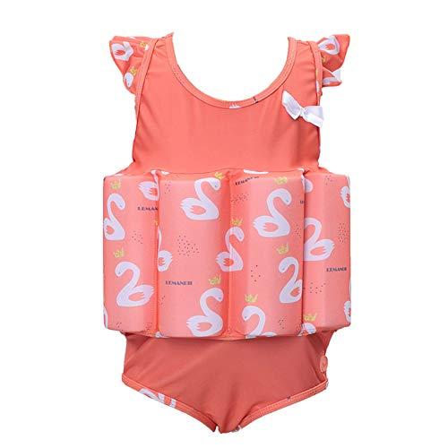 LPATTERN Baby/Kinder Bojen-Badeanzug - Jungen/Mädchen Einteiler Badeanzug Schwimmanzug Bademode mit entnehmbar Polster, Orange Gans(Slip), 116(Label: 120) (Gans Mädchen)
