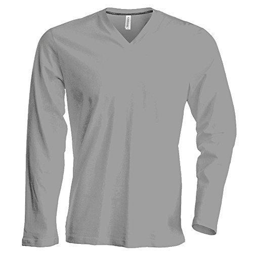 Langarm T-Shirt mit V-Ausschnitt Oxford Grey