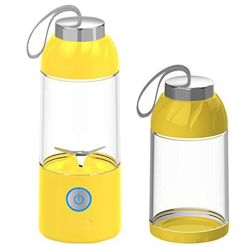 mezclador liso de vidrio portátil, carga USB, cuchilla de acero inoxidable 2 para viajes personales, jugo, vibración y alimentos para bebés, licuadora con taza de jugo, amarillo, naranja
