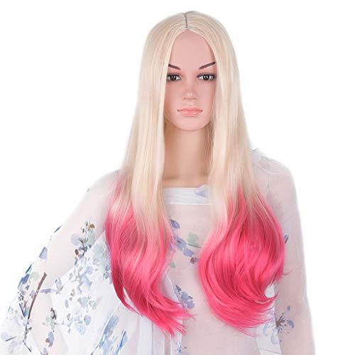 (WUX Perücke, Mode Lange lockiges Haar große Welle Gradient Perücke Kopfschmuck, geeignet für Frauen Party Party Rollenspiele)