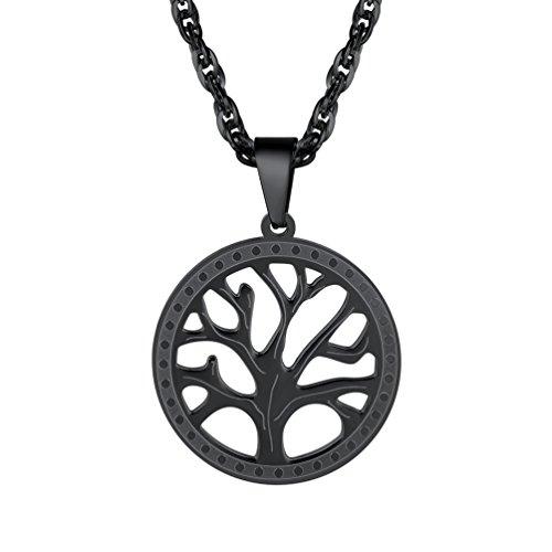 PROSTEEL Anhänger Halskette, Edelstahl Baum des Lebens Anhänger mit 55cm Singapurkette, Geschenk für Damen und Herren, schwarz