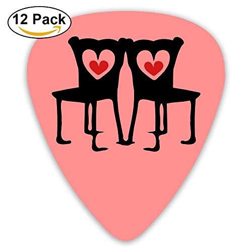 Celluloid Guitar Picks Bass Guitar Plectrums,Print Red Hearts Black Chairs,12 Pack,0.46/0.73/0.96 Mm Guitar -