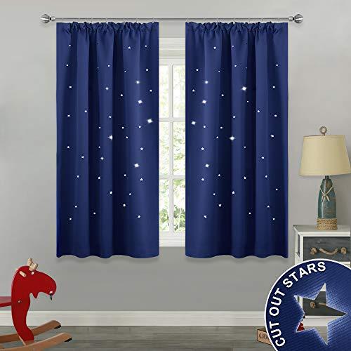 Pony dance tende da sole moderni per finestre soggiorno salone camera bambini color blu/drappeggi spessi con stelle vuote per neonati ragazzi, 2 pannelli, 116 x 137 cm (l x a)