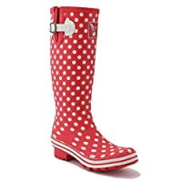 Evercreatures Polka Tall Wellies UK 7/EU 40 Red