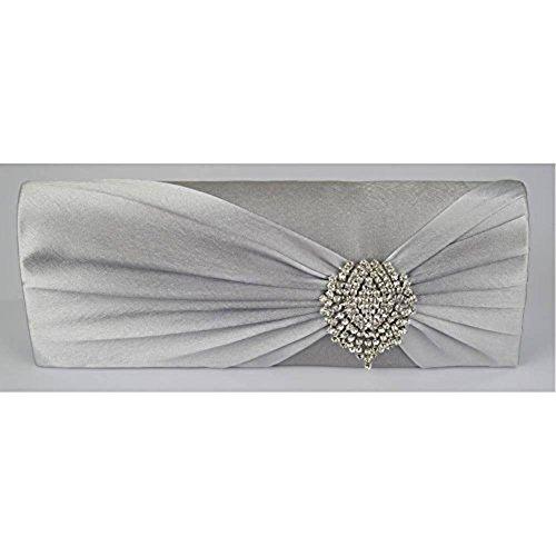 TrendStar Neue Damen Silber Clutch-Bag Frauen Diamante Kristallpartei -Hochzeit Prom Purse Silber 2