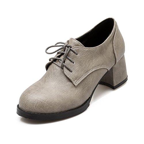 VogueZone009 Femme à Talon Correct Couleur Unie Lacet Matière Mélangee Rond Chaussures Légeres Gris