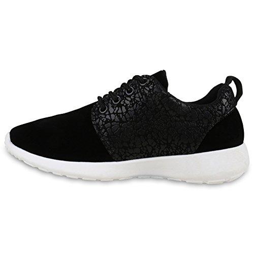 Damen Sportschuhe | Neon Laufschuhe | Runners Sneakers | Fitness Schnürer | Prints Blumen | Übergrößen Schwarz Grafik