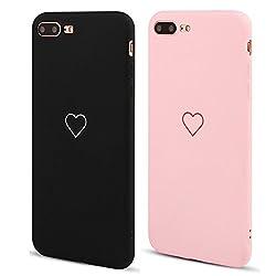 LAPOPNUT 2 Pack Hülle für iPhone 6/iPhone 6S Cute Love Heart Hülle Matt Soft Silicone Slim TPU Handytasche Flexible Schutzhülle HandyHülle Back Cover