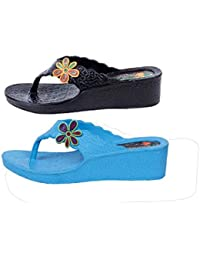 KAYSTAR 2111 Combo Pack Of 2 Stylish & Trendy Look Sky Blue And Cream Wedges Heel Slipper For Women And Girls