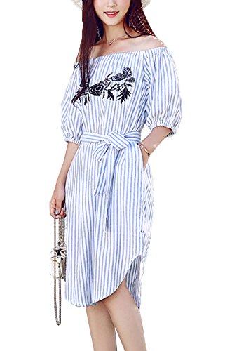 Summer Mae Robe Chemise avec un Col Bateau Tissu Rayé et Broderie pour Femme Bleu ciel avec rayures
