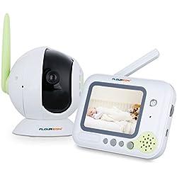 """Floureon BM256 - Vigilabebés Monitor Intercomunicadores Con Pantalla 3.5"""" (Multi-Canal, Cámara HD, Infrarrojo Visión Nocturna, Señal Indicador) Verde"""