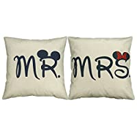 """Luxbon Set of 2 Pcs Mr and Mrs Funny Mouse Cushion Cover Durable Cotton Linen Throw Pillow Case Wedding Valentine Gift MR and MRS Present 18""""X18"""" 45x45cm"""