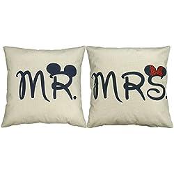 "2 Fundas de Cojin ""Mr & Mrs"" Regalo de San Valentín 18x18 45x45 cm"