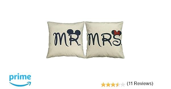 lit couple 45/x 45/cm cadeau d/écoration pour canap/é voiture and Mme Luxbon 2/taies d/'oreiller assorties pour couple M