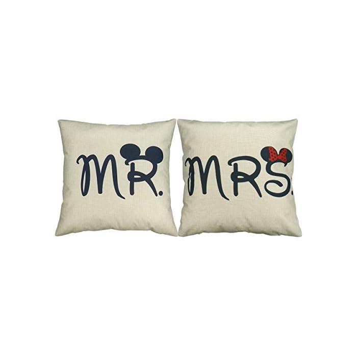 Luxbon 2er Set Mr Mrs Kissenbezug dauerhaft Leinen Dekokissen Hochzeit Valentinstag Geschenk 45x45 cm 18x18 '' 1