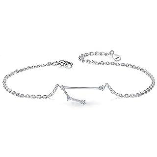 Clearine Women 925 Sterling Silver Wedding Bridal CZ Horoscope Zodiac 12 Constellation Astrology Link Bracelet Clear April Birthstone Aries