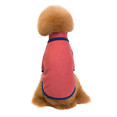 Amphia - Bekleidung Hunde,Pet Kleidung Stehkragen Plus SAMT Pullover - Haustier Hund Welpen warme Winterkleidung Mode TurtleHals Pullover Zwei-Bein-Tuch(Rot,L)