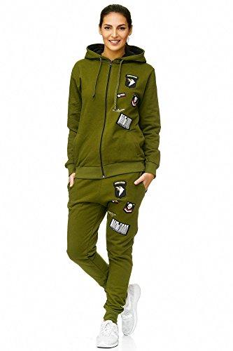 Violento Damen Jogging-Anzug USA-Patches 685 (XL-fällt groß aus, Khaki) -