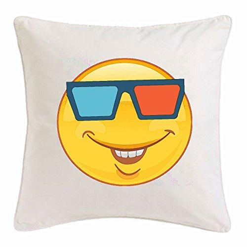 Reifen-Markt Kissenbezug 40x40cm LUSTIGER Smiley MIT 3D Brille Smileys Smilies Android iPhone Emoticons IOS GRINSE Gesicht Emoticon APP aus Mikrofaser in Weiß