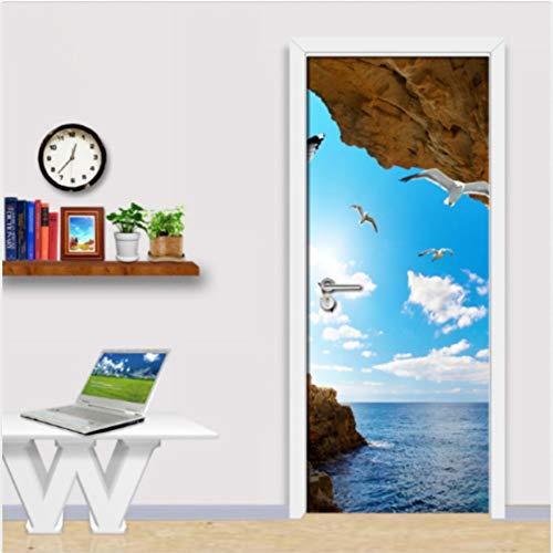 3D Blue Sky White Clouds Cave Selbstklebende Schlafzimmer Von Murals Aufkleber Dekor 80X200Cm -