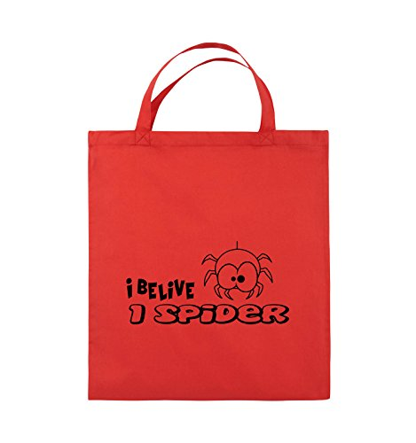Comedy Bags - I BELIEVE I SPIDER - Jutebeutel - kurze Henkel - 38x42cm - Farbe: Schwarz / Silber Rot / Schwarz