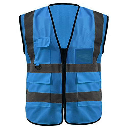 GOGO 5 Pockets High Visibility Zipper Front Breathable Safety Vest with Reflective Strips, Uniform Vest-Blue-S Polyester Traffic Safety Vest